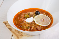 Russian solyanka soup Royalty Free Stock Images
