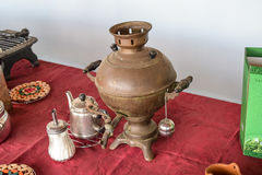Russian somovar. The device for making tea in the autonomous con Royalty Free Stock Photography