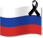 Russian sorrow. Russian flag with black sorrow band Stock Images