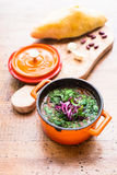 Russian soup with beetroot, cabbage, tomato served with fresh homemade bread Stock Image