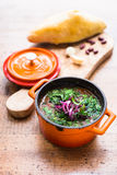 Russian soup with beetroot, cabbage, tomato served with fresh homemade bread Royalty Free Stock Photography