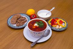 Russian soup borsch stock photo