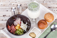 Russian soup Okroshka with bread Stock Photos