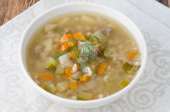 Russian soup rassolnik with chicken gizzards and barley, top vie Royalty Free Stock Photo