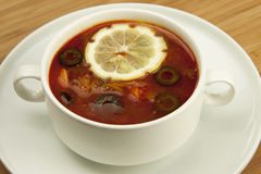 Russian soup, Solyanka Royalty Free Stock Photo