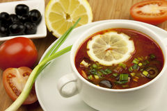 Russian soup, Solyanka. Traditional russian and ukrainian cuisine Stock Images