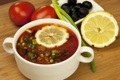 Russian soup, Solyanka. Traditional russian and ukrainian cuisine Royalty Free Stock Photos