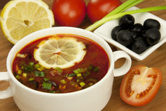Russian soup, Solyanka. Traditional russian and ukrainian cuisine Royalty Free Stock Image