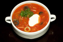 Russian soup with sour cream Royalty Free Stock Image