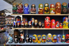 Russian souvenir dolls on street sale Stock Photo