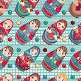 Russian souvenir. Matryoshka - babushka doll. Seamless pattern. Vector Royalty Free Stock Photo