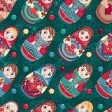 Russian souvenir. Matryoshka - babushka doll. Seamless pattern. Vector Royalty Free Stock Photos