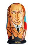 Russian souvenir, wooden matryoshka Putin. Stock Photos