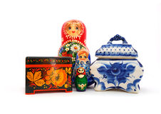 Russian souvenirs. Set of different russian souvenirs on a white background Stock Photo