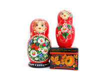 Russian souvenirs. On a white background Stock Photography