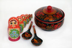 Russian souvenirs. Set of russian souvenirs on white background Stock Photos