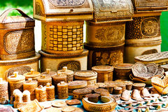 Russian souvenirs. For sale in the open air stock photos