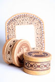 Russian souvenirs of birch bark Royalty Free Stock Photos
