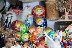 Russian souvenirs at market Royalty Free Stock Photo