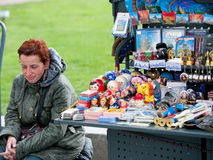 Russian souvenirs seller, St. Petersburg Stock Images