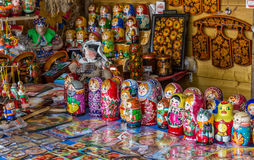 Russian souvenirs. Traditional russian souvenirs are sold at the street market Stock Photography