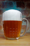 Russian Soviet beer mug. Brick walls with blue ray. Such beer mugs were all pubs Soviet Union Royalty Free Stock Images