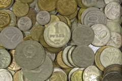Russian and Soviet coins. Royalty Free Stock Photo
