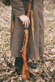Russian Soviet Infantry Soldier Of World War II Holds Rifle Weap Stock Images