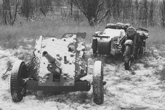 Russian Soviet 45mm Anti-tank Gun And Old Tricar, Three-Wheeled Motorbike. Main Anti-tank Weapon Of Red Army Artillery stock images