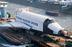 Russian space-shuttle. Transfer of the russian spaceshuttle Buran at river Rhine near Duesseldorf to the destination Technical Museum Speyer. the transport via royalty free stock photos