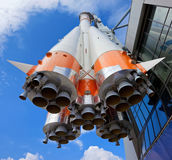 Russian space transport rocket. On blue sky background Royalty Free Stock Photos