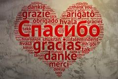 Russian: Spasiba, Heart shaped word cloud Thanks, Grunge Backgro Royalty Free Stock Photo