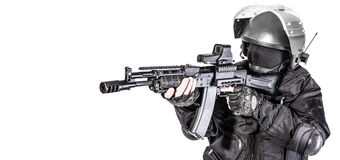 Russian special forces. Operator in black uniform and bulletproof helmet Royalty Free Stock Photography