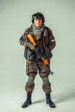 Russian special forces soldier. On grey background royalty free stock photography
