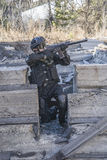 Russian special forces training at a military training ground. Royalty Free Stock Image