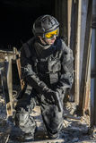 Russian special forces training at a military training ground. Fulfills military action against terrorism Royalty Free Stock Photography