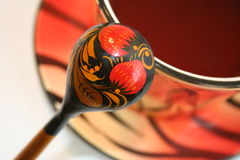 Russian spoon. Wooden Russian spoon with a national pattern Royalty Free Stock Images