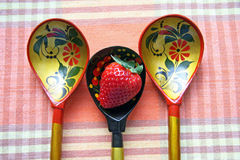 Russian spoons and berry Stock Image