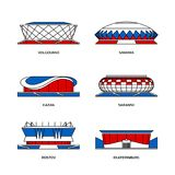 Russian sport stadiums. Sport stadiums icons for football championship in Russia 2018 stock illustration