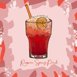 Russian Spring Punch Contemporary classic cocktail illustration. Alcoholic bar drink hand drawn vector. Pop art vector illustration