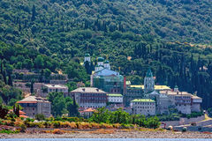 Russian St. Pantaleon monastery at Mount Athos Royalty Free Stock Photography