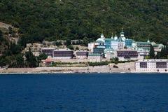 Russian St. Panteleimon Orthodox monastery at Mount Athos,  Halkidiki , Greece Royalty Free Stock Photos