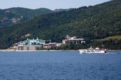 Russian St. Panteleimon Orthodox monastery at Mount Athos,  Halkidiki , Greece and ship Stock Photos