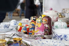 Russian stacking dolls. At a street fair in Zurich, Switzerland Royalty Free Stock Photo
