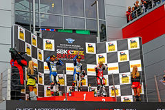 Russian stage of the Superbike World Championship, Award ceremony, Podium, on July 21, 2013, in Moscow Raceway, Moscow, Russia. Stock Image