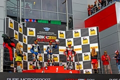 Russian stage of the Superbike World Championship, Award ceremony, Podium, on July 21, 2013, in Moscow Raceway, Moscow, Russia. Royalty Free Stock Photography