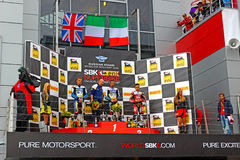 Russian stage of the Superbike World Championship, Award ceremony, Podium, on July 21, 2013, in Moscow Raceway, Moscow, Russia. Royalty Free Stock Images