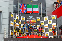 Russian stage of the Superbike World Championship, Award ceremony, Podium, on July 21, 2013, in Moscow Raceway, Moscow, Russia. Royalty Free Stock Photo
