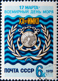 Russian stamp dedicated to World Maritime Day, circa 1978 Stock Image