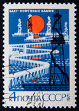 Russian stamp shows Oil Rigs, Baku. Circa 1971 Stock Photos